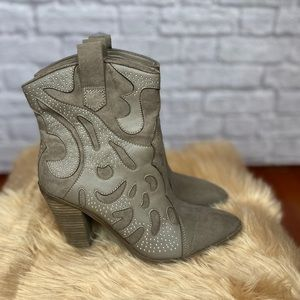 Taupe Western leather studded boots - like new